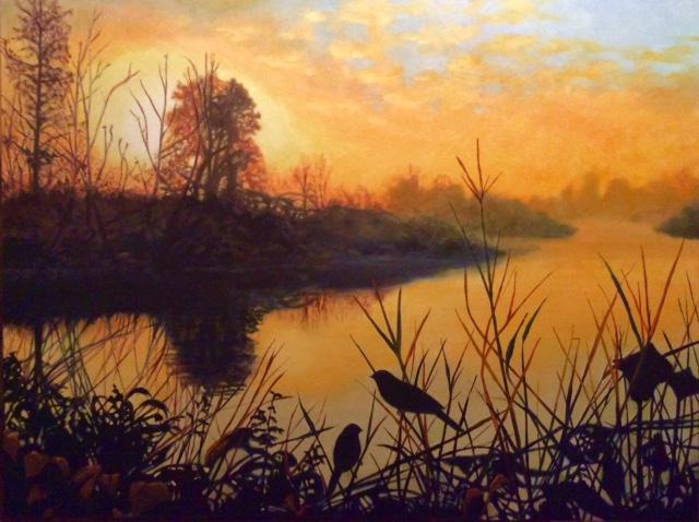 Morning Mist on Row River, 40X30, oil on canvas